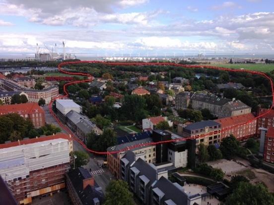ตรงประมาณบริเวณในวงสีแดงคือพื้นที่ของ Freetown Christiania
